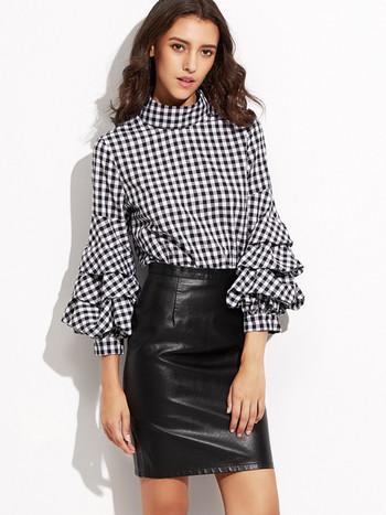 ХИТ Актуална дамска карирана  риза с лотос ръкав