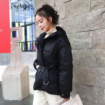 Модерно дамско яке с колан в четири цвята