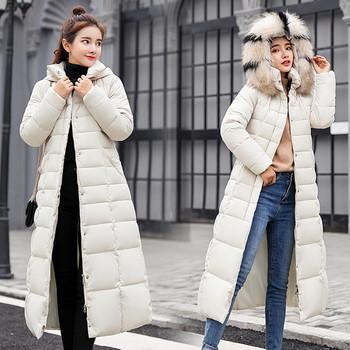 Μακρύ χειμωνιάτικο μπουφάν σε δύο μοντέλα με ζώνη και κουκούλα σε διάφορα χρώματα