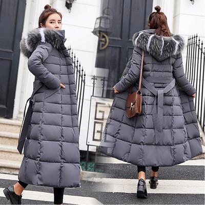 Дълго дамско зимно яке в два модела с колан и качулка в няколко цвята