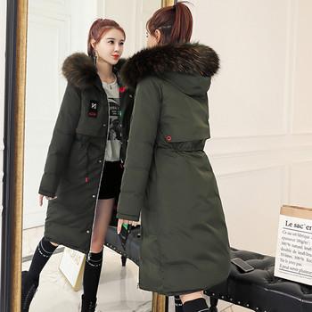 Зимно дамско яке с цветна подплата и качулка в няколко цвята