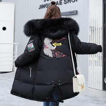 Γυναικείο χειμερινό μπουφάν  με κεντήματα στην πλάτη και κουκούλα σε διάφορα χρώματα