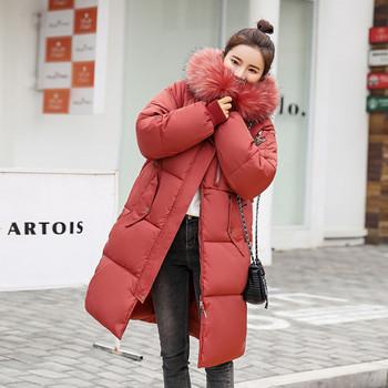 Модерно дамско зимно яке със странични копчета в няколко цвята