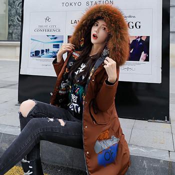 Актуално дамско двулицево яке с цветна щампа и качулка с пух в няколко цвята