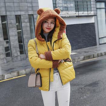 Γυναικείο μπουφάν με τρισδιάστατο στοιχείο στη κουκούλας - τέσσερα χρώματα