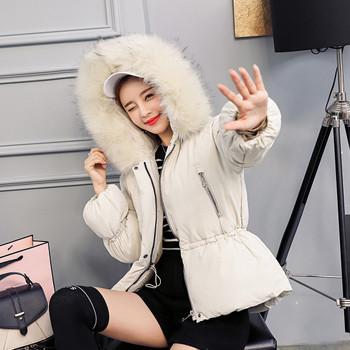 Γυναικείο μπουφάν με κουκούλα και  γούνα σε διάφορα χρώματα