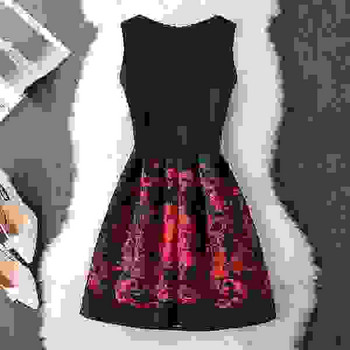 Дамска рокля с флорални мотиви в три цвята