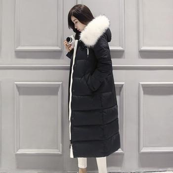 Μακρύ χειμωνιάτικογυναικείο μπουφάν  με κουκούλα και γούνα σε διάφορα χρώματα