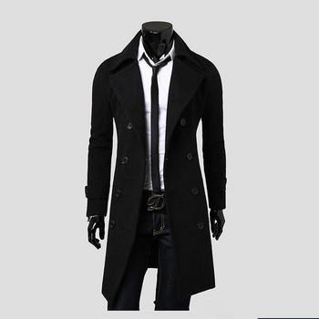 Стилно мъжко дълго палто в три цвята