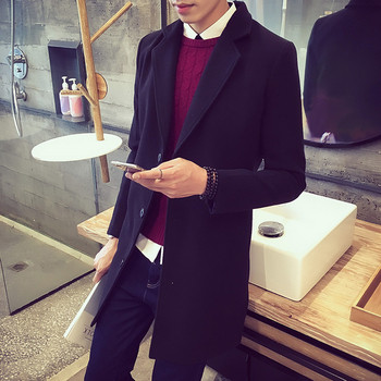 Мъжко стилно дълго палто в няколко цвята
