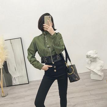 Κομψό γυναικείο μπουφάν σε μαύρο και πράσινο χρώμα