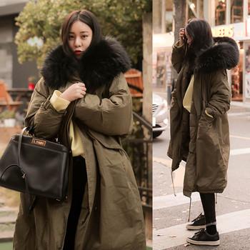 Γυναικείο μοντέρνο μακρύ μπουφάν με γούνα