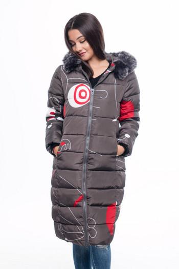 Γυναικείο χειμωνιάτικο μπουφάν με κουκούλα και γούνα σε τέσσερα χρώματα