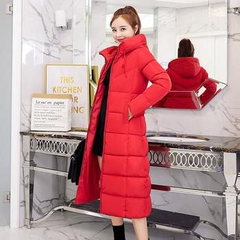 Стилно дамско дълго яке в черен и червен цвят