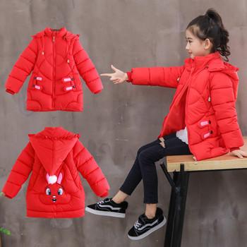 Μοντέρνο χειμερινό παιδικό μπουφάν για κορίτσια με 3D διακόσμηση σε τρία  χρώματα fc27f5b073f