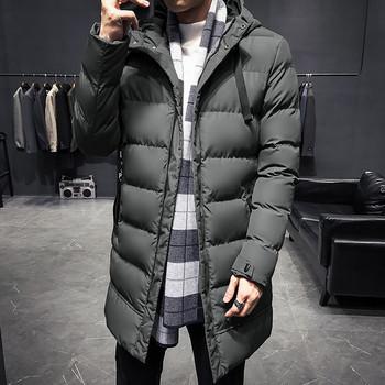 Дълго мъжко зимно яке с качулка в четири цвята