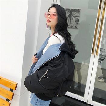 Γυναικείο μπουφάν  με φερμουάρ με δύο πρόσωπα