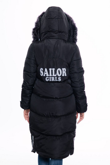 Дълго дамско яке за зимата с качулка в зелен, кафяв, черен,  сив и червен цвят