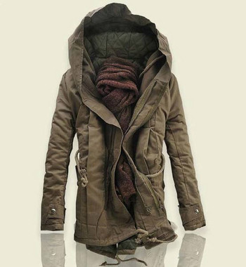 Елегантно мъжко зимно яке с качулка и връзки в три цвята