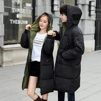 Дълго черно яке с качулка подходящо за мъже и жени