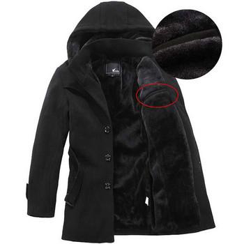 Елегантно мъжко зимно палто с качулка в два цвята