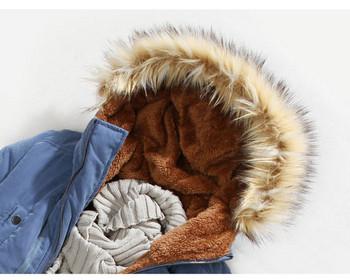 Небрежно мъжко яке в четири цвята с мека потплата и пухена качулка