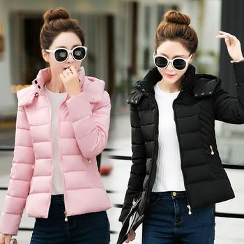 Γυναικείο μοντέρνο μπουφάν με κουκούλα και κολάρο σε σχήμα O