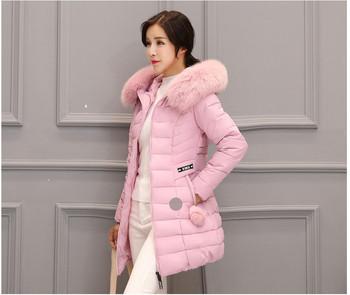 Дамско зимно яке с цветен пух в три цвята