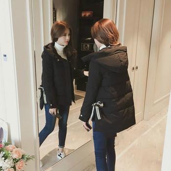 ΝΕΟ  μπντέλο γυναικέιο μπουφάν της  μόδας με διακοσμητικές κορδέλες σε λευκό και μαύρο χρώμα