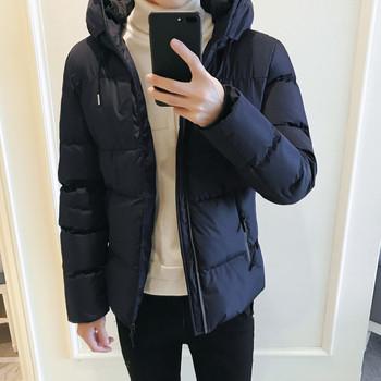 Мъжко зимно яке с качулка в черен и тъмносин цвят