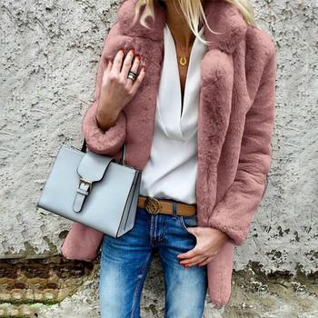 Стилно дамско пухено палто в няколко цвята