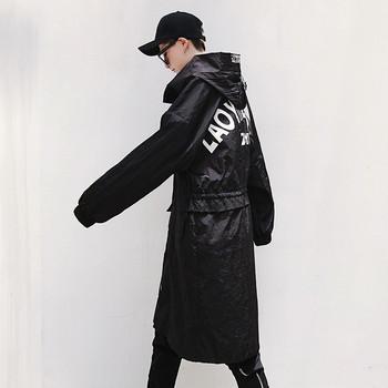 Мъжко дълго яке с качулка в черен цвят