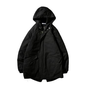 Ново мъжко яке за зимата в черен и зелен цвят