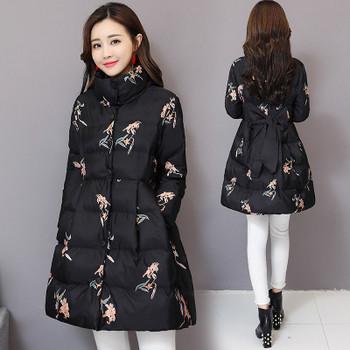 Κομψό γυναικείο μπουφάν με floral μοτίβα και κορδέλα στην πλάτη