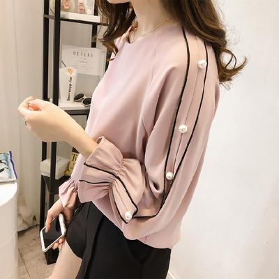 Дамска модерна риза с декорация перли в два цвята