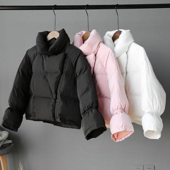 Γυναικείο  μπουφάν με κολάρο σε σχήμα Τ σε τρία χρώματα