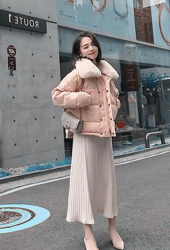 Γυναικείο μπουφάν με χνουδωτό γιακά σε τρία χρώματα