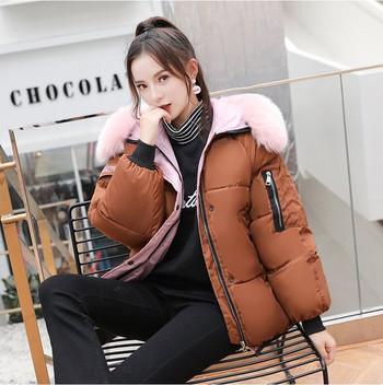 Γυναικείο μοντέρνο σακάκι με κουκούλα και πολύχρωμο χνούδι