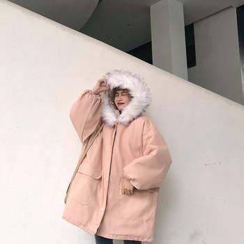 Модерно дамско яке широк модел с качулка и пух в два цвята