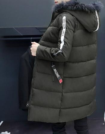 Модерно зимно мъжко яке дълъг модел с пух на качулката в два цвята