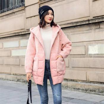 Γυναικείο χειμωνιάτικο σακάκι με απαλή κουκούλα σε δύο χρώματα