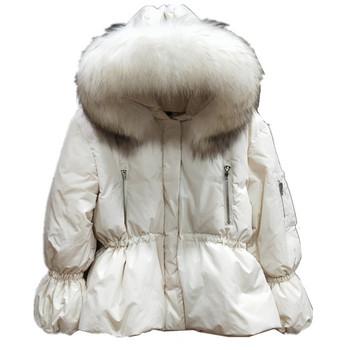 Дамско елегантно яке с пух на качулката