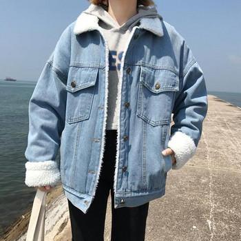 Дънково дамско яке с мека подплата в светъл и тъмен цвят