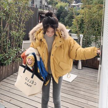 Дамско стилно яке с пух на качулката