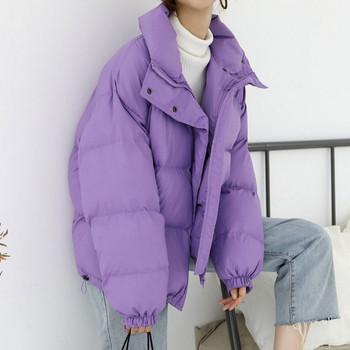 Χειμώνας κυρίες σακάκι ευρύ μοτίβο σε μοβ χρώμα