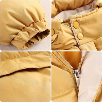 Γυναικείο σακάκι με κουκούλα σε λευκό και κίτρινο