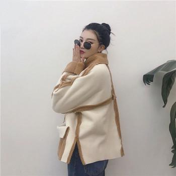Μοντέρνο γυναικείο μπουφάν - ευρύ μοτίβο σε ανοιχτόχρωμο χρώμα