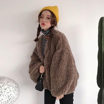 Κομψή κυρία σακάκι - ευρύ μοτίβο σε καφέ χρώμα