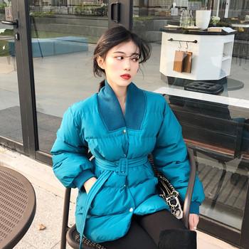 Γυναικείο σακάκι σε λευκό και μπλε με ζώνη