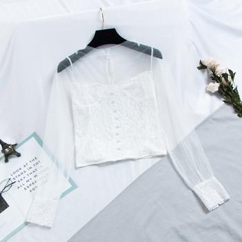 Модерна дамска риза с флорални мотиви в три цвята